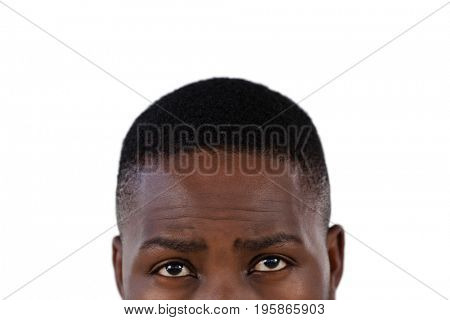 Thoughtful man against white background