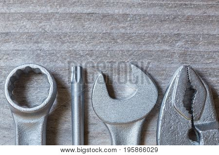 Tool on gray wood visualization concept picture