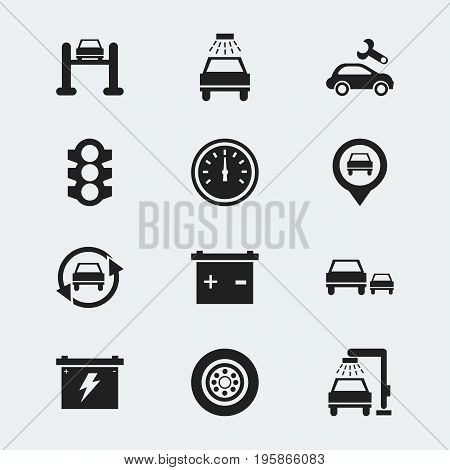 Set Of 12 Editable Car Icons. Includes Symbols Such As Stoplight, Tire, Accumulator And More