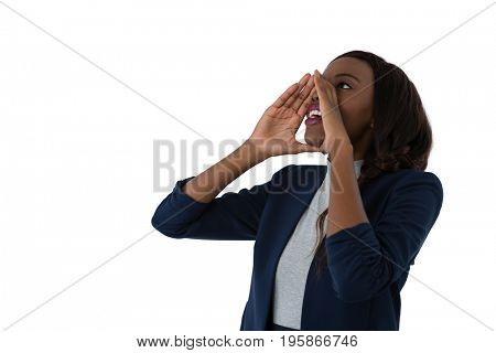 Close up of businesswoman shouting against white background