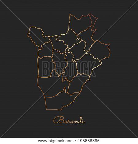 Burundi Region Map: Golden Gradient Outline On Dark Background. Detailed Map Of Burundi Regions. Vec