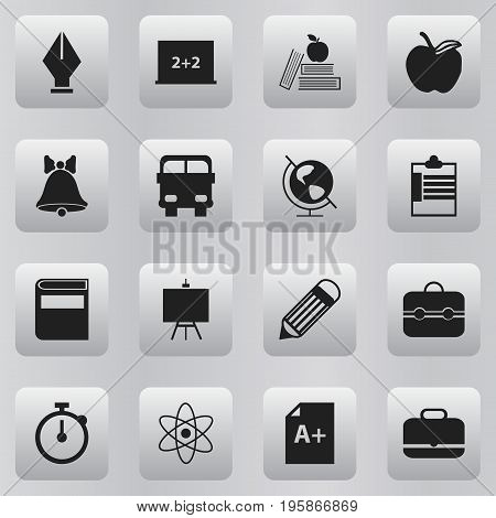 Set Of 16 Editable Education Icons. Includes Symbols Such As Molecule, Supervision List, Page And More