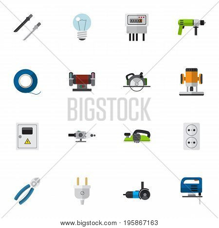 Set Of 16 Editable Instruments Flat Icons. Includes Symbols Such As Buzzsaw, Socket, Grinding Machine And More