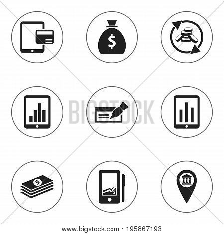 Set Of 9 Editable Investment Icons. Includes Symbols Such As Monitoring, Pinpoint, Internet Sale And More