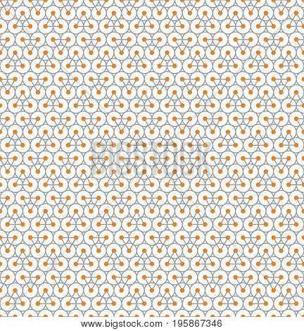 Abstract seamless pattern with gray triangles with orange circles on their vertices on gray circles on white background