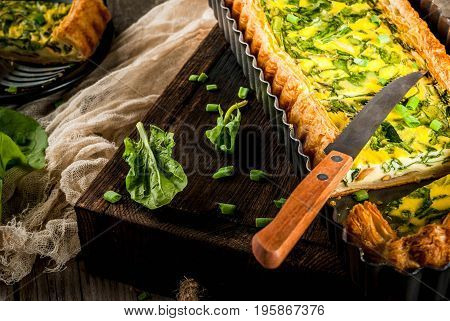 Quiche Lorraine With Spinach And Green Onion