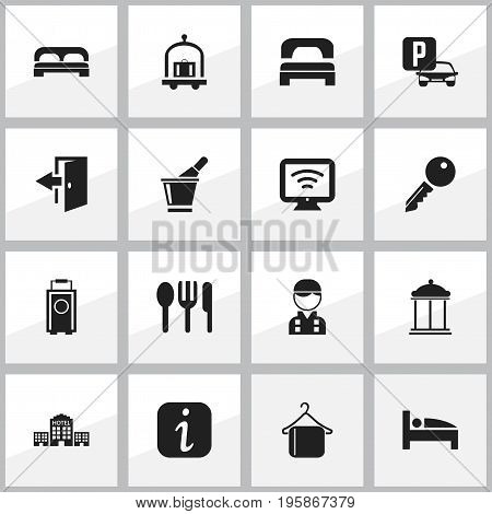 Set Of 16 Editable Travel Icons. Includes Symbols Such As Wireless Tv, Trolley, Sleeping And More