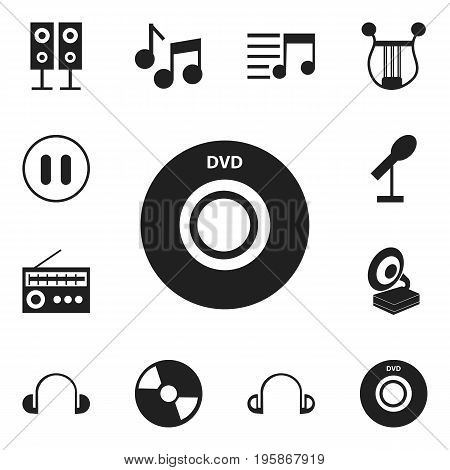Set Of 12 Editable Music Icons. Includes Symbols Such As Audio Note, Headsets, Phonograph And More