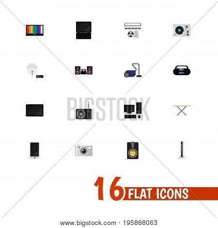 Set Of 16 Editable Technology Flat Icons. Includes Symbols Such As Antenna, Cassette Player, Stereo System And More