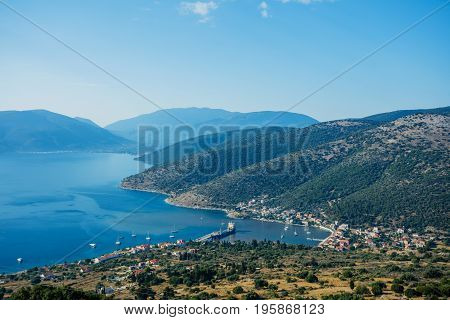 The Island of Kefalonia, Ionian Sea, Greece. A view of Mediterranean blue waters of the Ionian Sea on the popular the Greek island of Kefalonia.