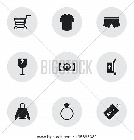 Set Of 9 Editable Business Icons. Includes Symbols Such As Cracked Mug, Sale Label, Freight Delivery And More