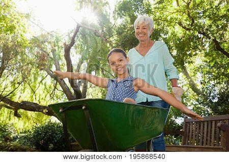 Smiling senior woman pushing granddaughter sitting in wheelbarrow at backyard