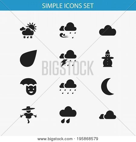 Set Of 12 Editable Weather Icons. Includes Symbols Such As Tornado, Precipitation, Hail And More