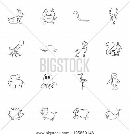 Set Of 16 Editable Zoology Doodles. Includes Symbols Such As Rabbit, Squid, Tentacle And More