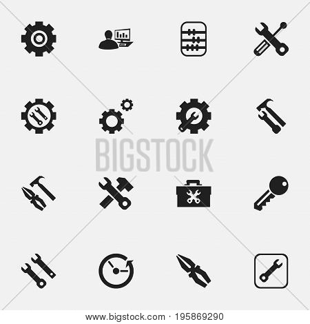 Set Of 16 Editable Mechanic Icons. Includes Symbols Such As Pliers Hammer, Access, Reconstruction And More
