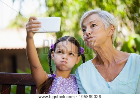 Girl and grandmother making faces while taking selfie at backyard