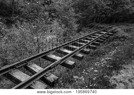 Post-apocalyptic landscape. Cemetery of abandoned trains. Monochrome photo.