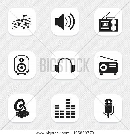 Set Of 9 Editable Media Icons. Includes Symbols Such As Musical Sign, Phonograph, Microphone And More