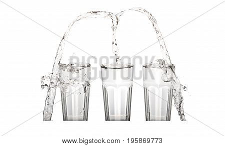 glass water with water being dropped in the glass water in movement