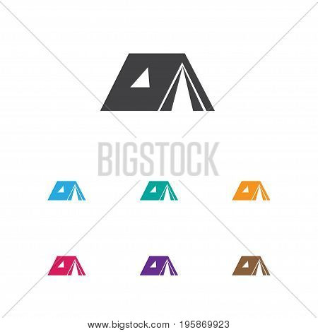 Vector Illustration Of Camping Symbol On Tabernacle Icon
