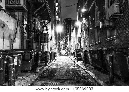 Scary and creepy lane in Philadelphia by night