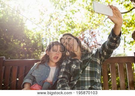 Low angle view of woman taking selfie with daughter while making faces against trees at backyard