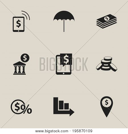Set Of 9 Editable Banking Icons. Includes Symbols Such As Salary, Arrow, Budget And More