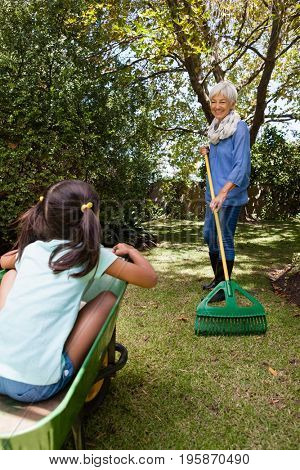 Grandmother holding rake while looking granddaughter sitting in wheelbarrow at backyard