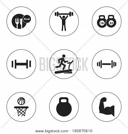 Set Of 9 Editable Healthy Icons. Includes Symbols Such As Racetrack Training, Healthy Food, Biceps And More