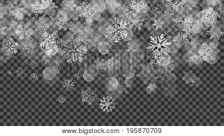 Christmas Background Of Translucent Falling Snowflakes