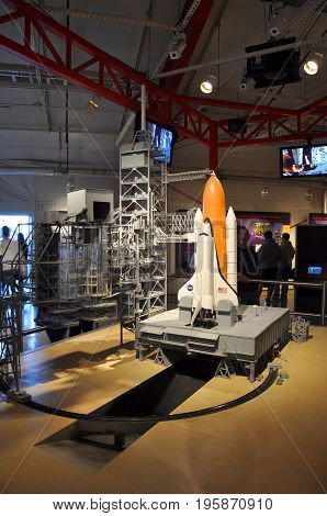 FLORIDA,USA - DEC 20, 2010: Space shuttle model in Kennedy Space Center Visitor Complex in Cape Canaveral, Florida, USA.