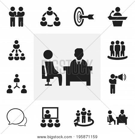 Set Of 12 Editable Community Icons. Includes Symbols Such As Command, Talking Man, Agreement