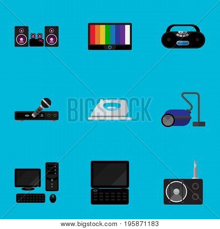 Set Of 9 Editable Tech Flat Icons. Includes Symbols Such As Notebook, Appliance, Stereo System And More