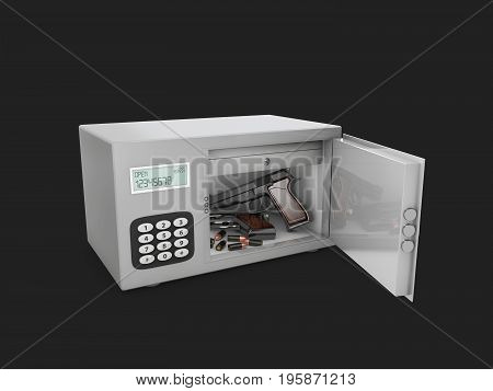 The Gun And Bullets In The Safe, 3D Illustration Isolated Black