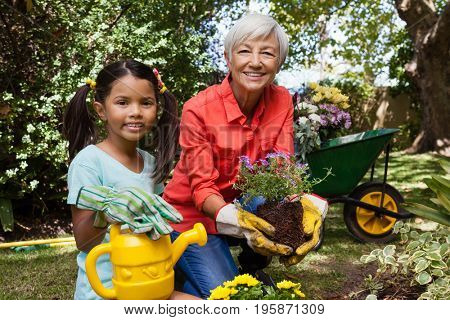 Portrait of smiling girl and grandmother gardening in backyard