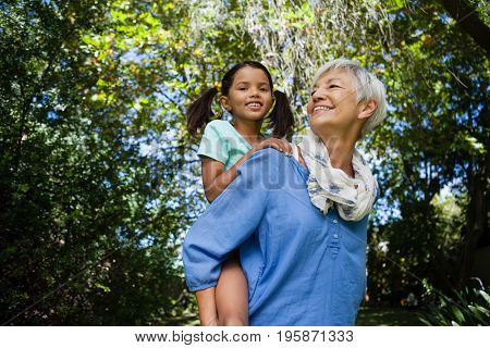 Low angle view of smiling grandmother giving piggyback to granddaughter against trees at backyard