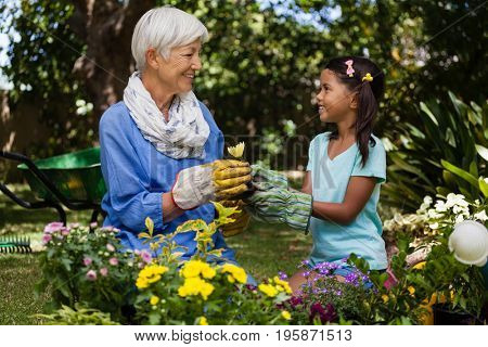 Smiling grandmother and granddaughter looking at each other while holding flower in garden