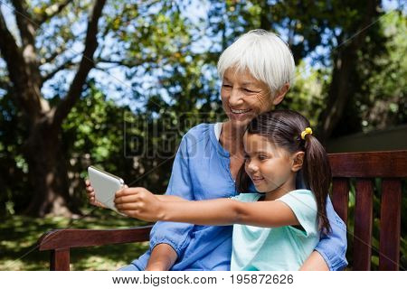 Smiling girl taking selfie with grandmother while sitting on bench at backyard