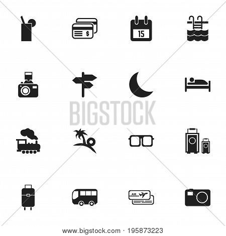 Set Of 16 Editable Journey Icons. Includes Symbols Such As Camera, Date Block, Luggage And More