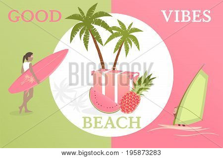 Summertime. Good vibes only with travel bag, pineapple, watermelon, girl and surfboard and surfer in trendy watermelon colors.