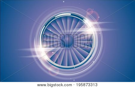 Jet Engine Turbine Chrome Ring In Retro Violet Blue Color Style With Lens Flare Light Effect. Detail