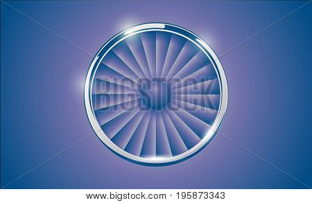 Jet Engine Turbine With Chrome Ring In Retro Violet Blue Color Style. Detailed Airplane Motor Front