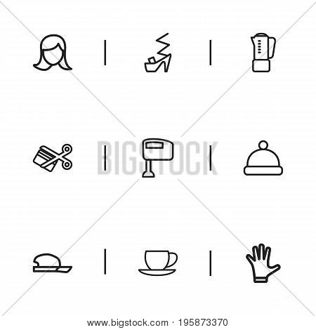 Set Of 9 Editable Business Outline Icons. Includes Symbols Such As Mitten, Hat, Woman Face And More