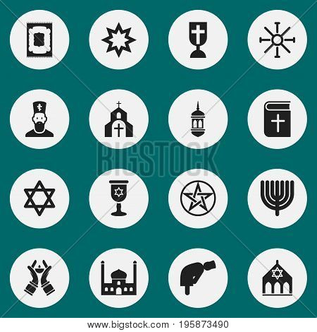 Set Of 16 Editable Dyne Icons. Includes Symbols Such As Chaplain, Christian Book, Chapel And More