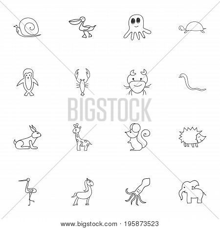 Set Of 16 Editable Animal Doodles. Includes Symbols Such As Shadoof, Tortoise, Pelican And More