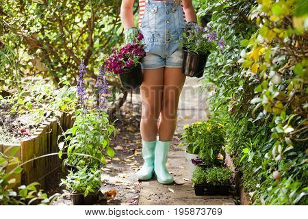Low section of woman girl with flowering plants on footpath in backyard