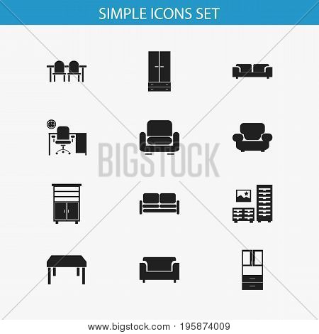 Set Of 12 Editable Furnishings Icons. Includes Symbols Such As Settee, Wooden Table, Cabinet And More