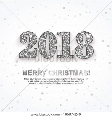 2018 Merry Christmas Greeting Card with silver numbers white background. New Year invitation poster banner design. Vector Illustration