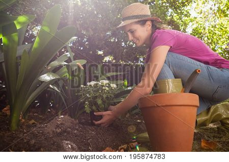 Side view of smiling woman planting flowers while crouching in backyard