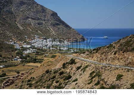 Kamares village white cycladic village in Sifnos, Greece